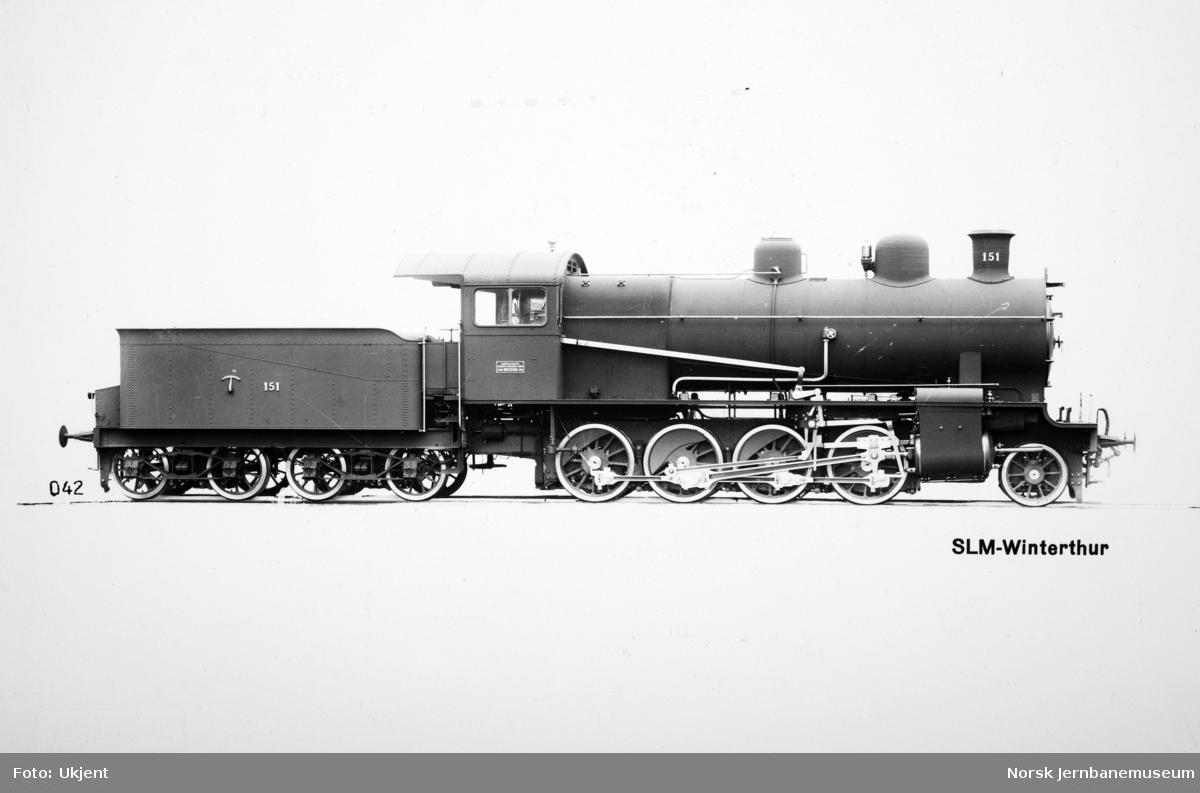 Leveransefoto av Ofotbanens damplokomotiv type 19a nr. 151 fra SLM