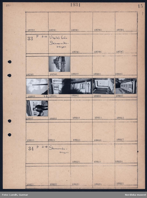 Motiv: Utsikt från Skinnarviksbergen; Detaljer av byggnad, industriskorsten, stadsvy, porträtt av man.