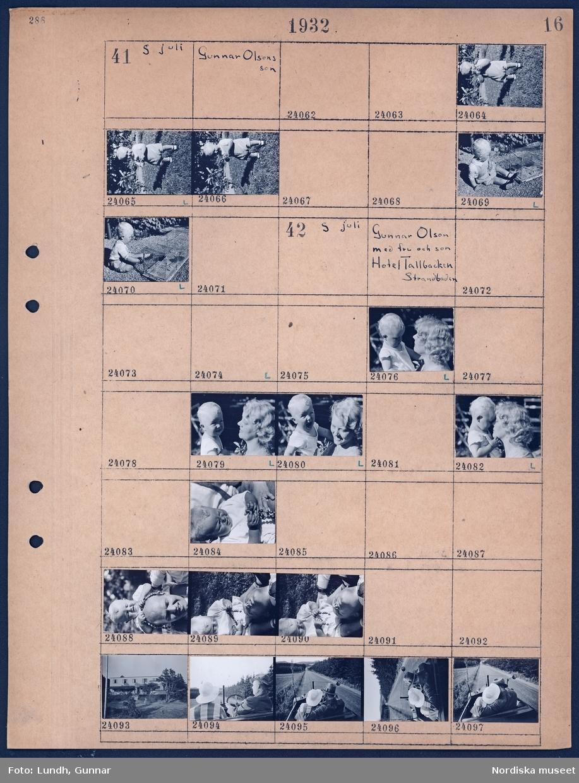 Motiv: Gunnar Olsons son; Porträtt av ett barn.  Motiv: Gunnar Olson med fru och son, Hotell Tallbacken, Strandbaden; Porträtt av en kvinna som håller ett barn, porträtt av en man med ett barn, exteriör av ett hus, en kvinna och en man i en bil som kör på en landsväg.