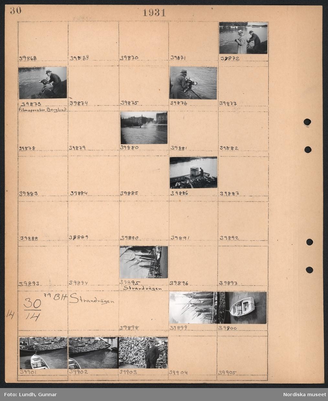 Motiv: (ingen anteckning); En man med filmkamera vid vattnet, en man står på staplad ved vid en båt, segelfartyg ligger vid kaj.  Motiv: Strandvägen; Segelfartyg ligger vid kaj, båtar med ved ligger vid kaj, porträtt av en man framför en stapel med ved.