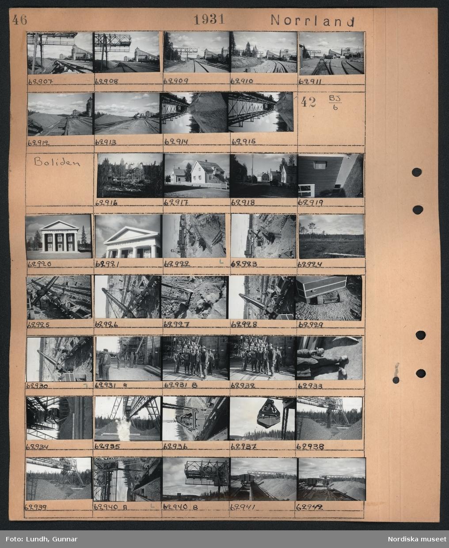 """Motiv: Norrland, Boliden; Industriområde med byggnader - jänvägsräls och transportbro.  Motiv: Norrland, Boliden; Landskapsvy med skog och ett bostdshus under byggnation, väg med bostadshus, en byggnad med skylt """"Folkets hus"""", industriområde med en grävskopa som fyller jänrvägsvagnar med malm, en grupp män vid en industribyggnad."""