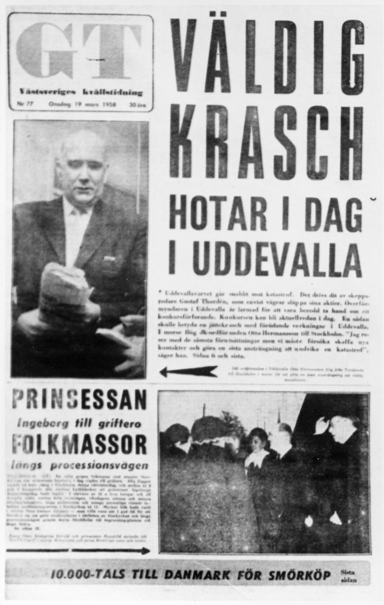 """Kvällstidningen GT 19 mars, avfotograferad framsida. """"Thordénkrisen""""."""