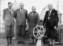 Oppstarting av Einunna kraftverk våren 1955. fh. Fylkesmann