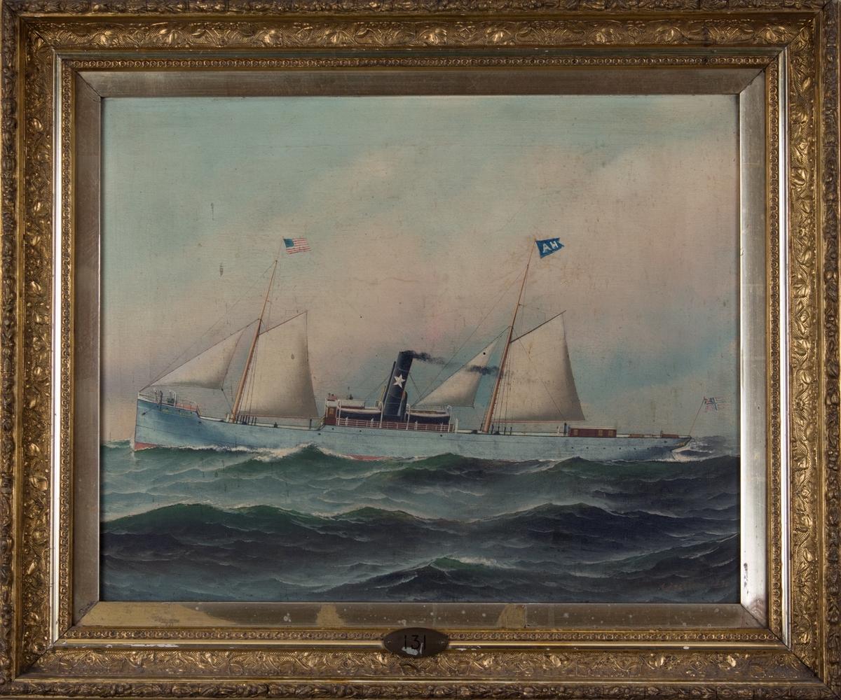Skipsportrett av DS JOHAN SVERDRUP under fart med seilføring. Fører unionsflagg akter samt det amerikanske flagg i fortoppen . Har rederiflagg  med bokstavene A.H.