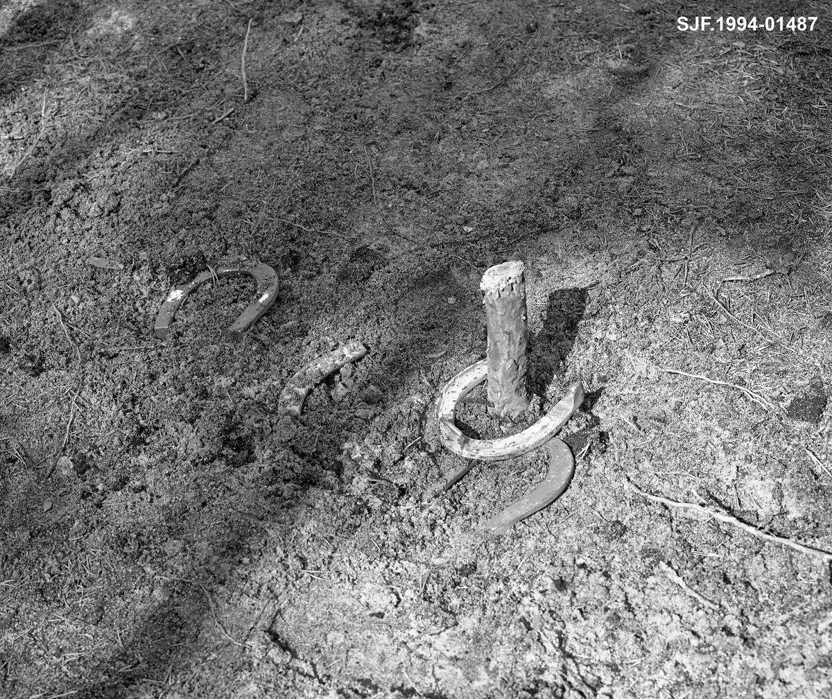 Hesteskokasting ved Stenbekkoia i Engerdal våren 1986.  Fotografiet viser målet for kastinga – en trepinne som stikker 10-15 meter over bakken på ei plan grusslette.  Da dette bildet ble tatt lå det fire hestesko ved denne pinnen, en av dem slik at den omsluttet pinnen.  Den som hadde kastet denne skoen lå best an i konkurransen.  Deltakerne kastet fra samme punkt og disponerte vanligvis to hestesko i hver omgang.  De yngste fløterene hadde hesteskokasting som fritidssysel om kvelden.