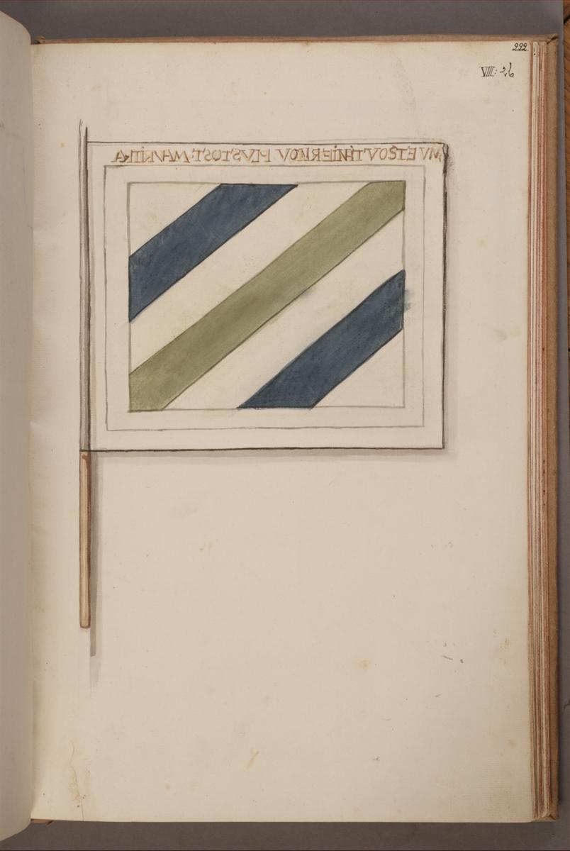 Avbildning i gouache föreställande fälttecken taget som trofé av svenska armén. Möjligen samma fana som AMA.0004155.