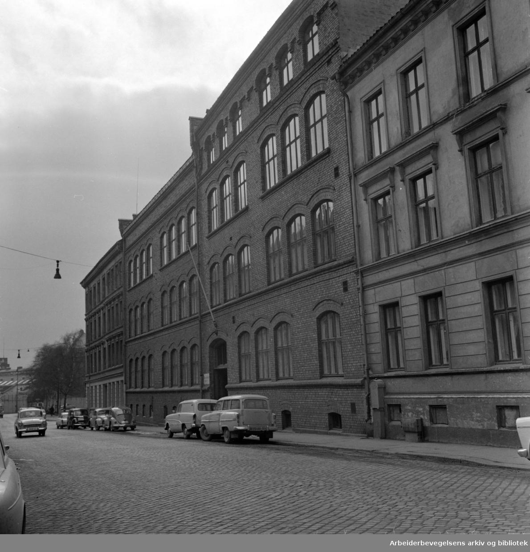 Maskinistskolen i Toftesgate. April 1963. 1974: Grünerløkka handelsskole.1980: Grünerløkka videregående skole