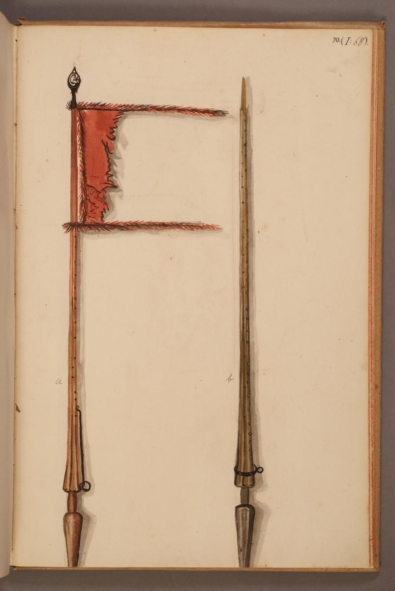 Avbildning i gouache föreställande fälttecken tagna som troféer av svenska armén. Standaret till vänster i bild finns bevarat i Armémuseums samling, för mer information, se relaterade objekt.