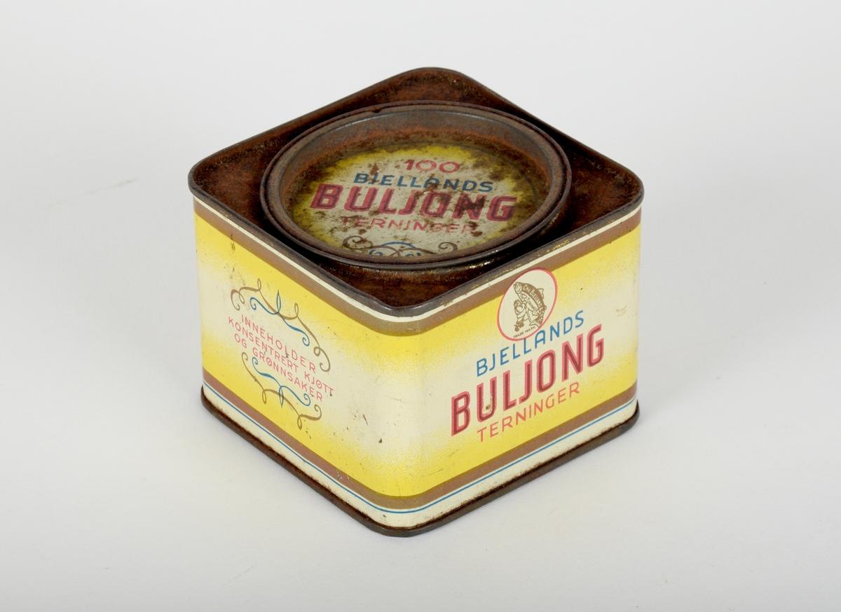 Blikkboks med lokk, til oppbevaring av buljongterninger.