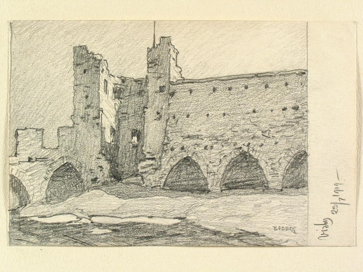 Teckning av Ferdinand Boberg. Visby, Stadsmuren i nordost