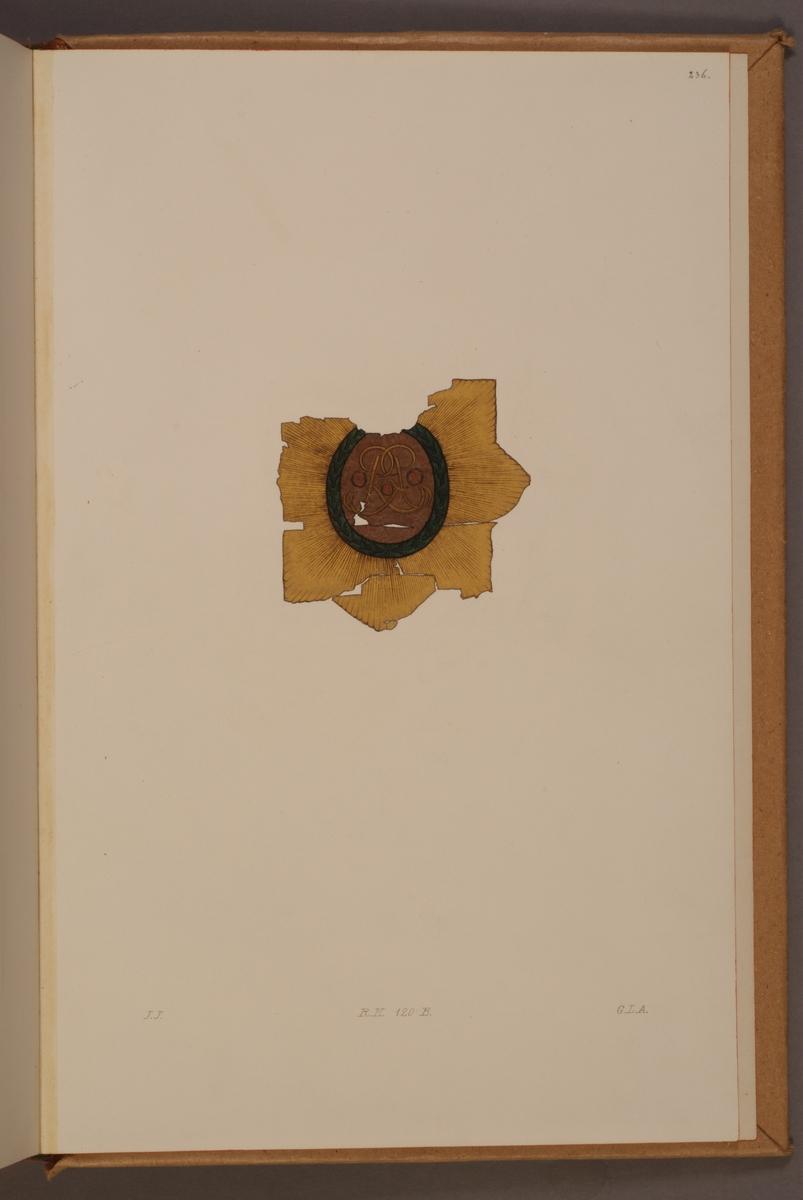 Avbildning i gouache föreställande detalj av fälttecken taget som trofé av svenska armén. Det avbildade standaret finns bevarat i Armémuseums samling, för mer information, se relaterade objekt.