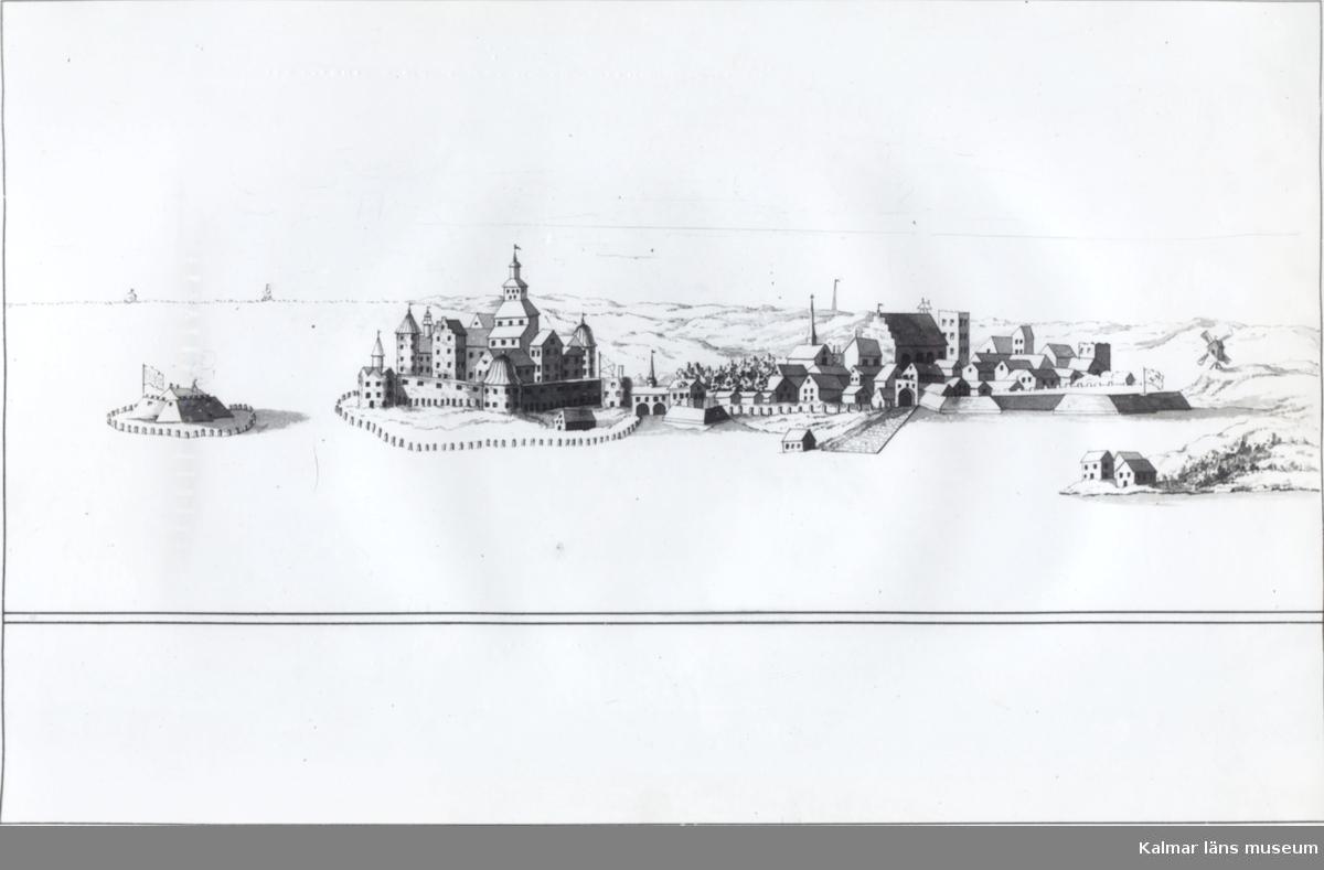 Teckning efter Erik Dahlberg föreställande Gamla stan samt slottet.