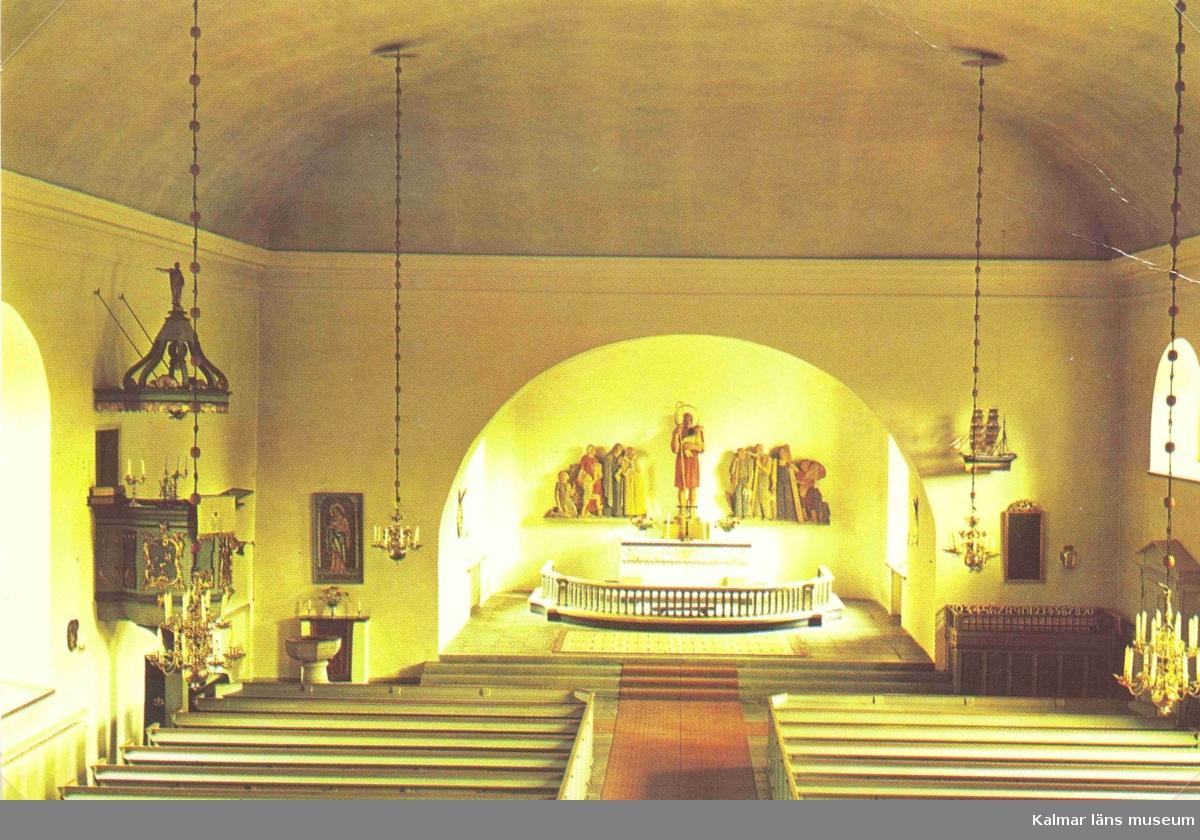 Vykort med interiör av Söderåkra kyrka, även kallad Sofia Magdalena kyrka.