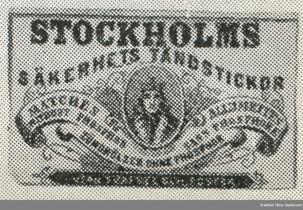 """Tändsticksetikett """"Stockholms Säkerhetständstickor""""  Urval av tändsticksetiketter ur Sven Johanssons """"Jönköpings samlingar."""