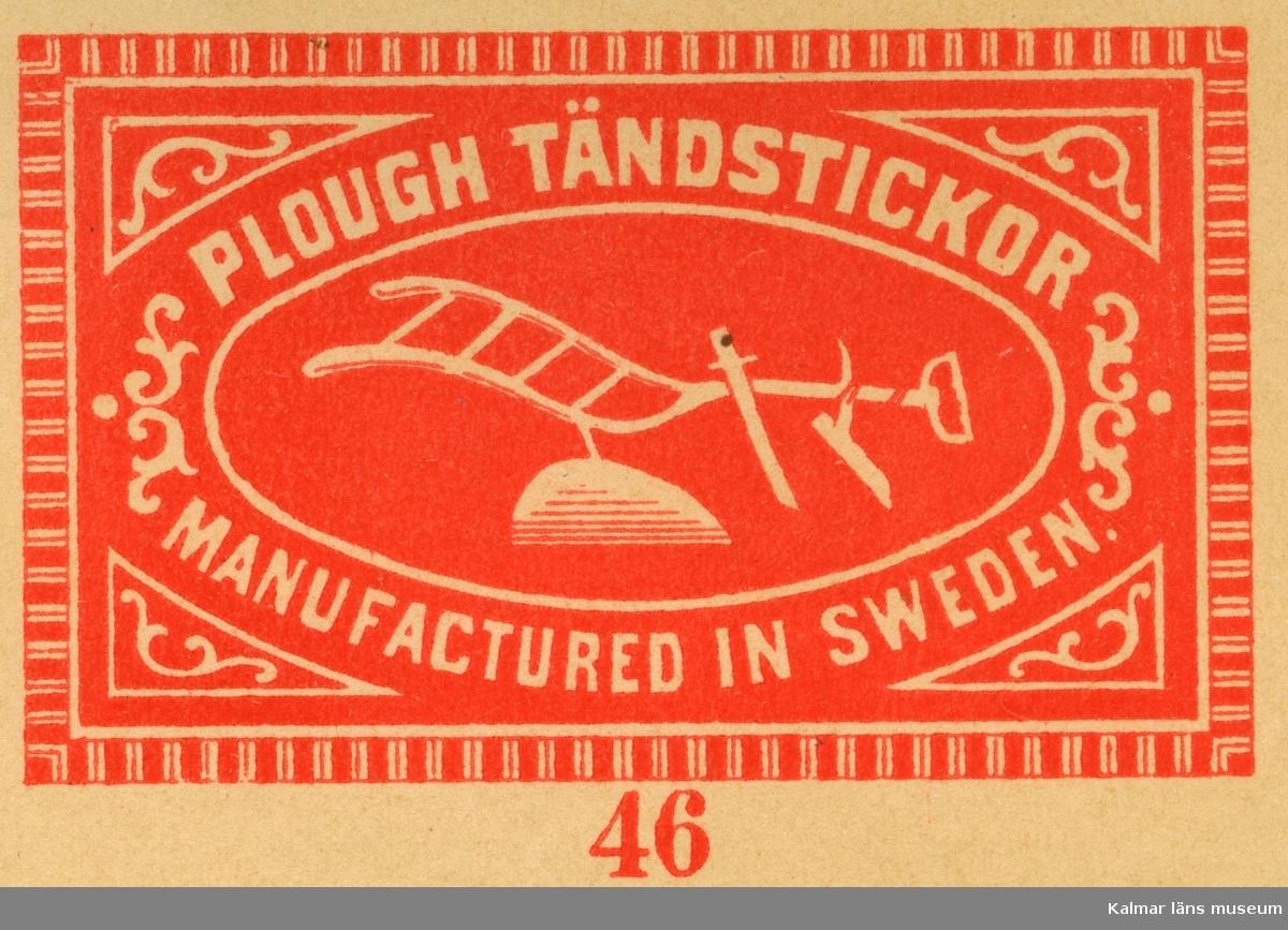 """Tändsticksetikett  från Växjö tändsticksfabrik, med en plog avbildad """"Plough Tändstickor""""""""   Wäxiö tändsticksfabrik anlades 1868. Initiativtagare var handlanden Carl Schander som inspirerats av bröderna Lundström i Jönköping och tillsammans med bokhandlaren CG Södergren startade de Wäxiö tändsticksfabrik. Fabriken var belägen i området något väster om stadskärnan. Fabriken bestod av huvudbyggnad uppförd i parmsten jämte några flygelbyggnader och lagerhus i trä. Några år efter starten fanns ett åttiotal anställda varav hälften kvinnor. År 1875 hade man uppnått  nära 150 anställda och årsproduktionen uppgick till ett värde av cirka 200.000 kronor.     Flera ägare, uppgång och nergång  Södergren lämnade fabriken efter några år och Schander stod kvar som ensamägare till 1887 då han sålde till Swedish Match Company i London. Som disponent ledde Schander tändsticksfabriken till 1891 då Knut Johansson tillträdde. 1913 tog Förenade Tändsticksfabriker  med Ivar Kreuger över fabriken och verksamheten expanderade kraftigt. Fabriken byggdes till och försågs med maskinell utrustning samtidigt som produktionen ökade och antalet anställda var 1920 uppe i 400 och med ett tillverkningsvärde av 3.603.000 kronor.  Huvudsakligen exporterades tändstickorna till Amerika och Indien men sen gick det raskt utför. 1921 med depression och osäkerhet i världen fanns det bara plats för 290 anställda och inte fulla veckor. Timlönen hade efter hand sjunkit från 1:30 till 73 öre med 10% tillägg för de som arbetar tre dagar i veckan eller mindre.  En arbetares årsinkomst beräknas då ligga mellan 1060 - 1213 kronor. Fackföreningen begärde också hos stadsfullmäktige att arbetarna skulle befrias från skatt. Sedan 1917 ägs nu fabriken av Svenska Tändsticksaktiebolaget, det största företaget i världen inom sitt område.     Fabriken utplånad av brand  Den 30 maj 1922 inträffade en brand som fullständigt lade fabriken i ruiner och som också hotade den övriga bebyggelsen runt omkring. En nattvakt upptäckte """
