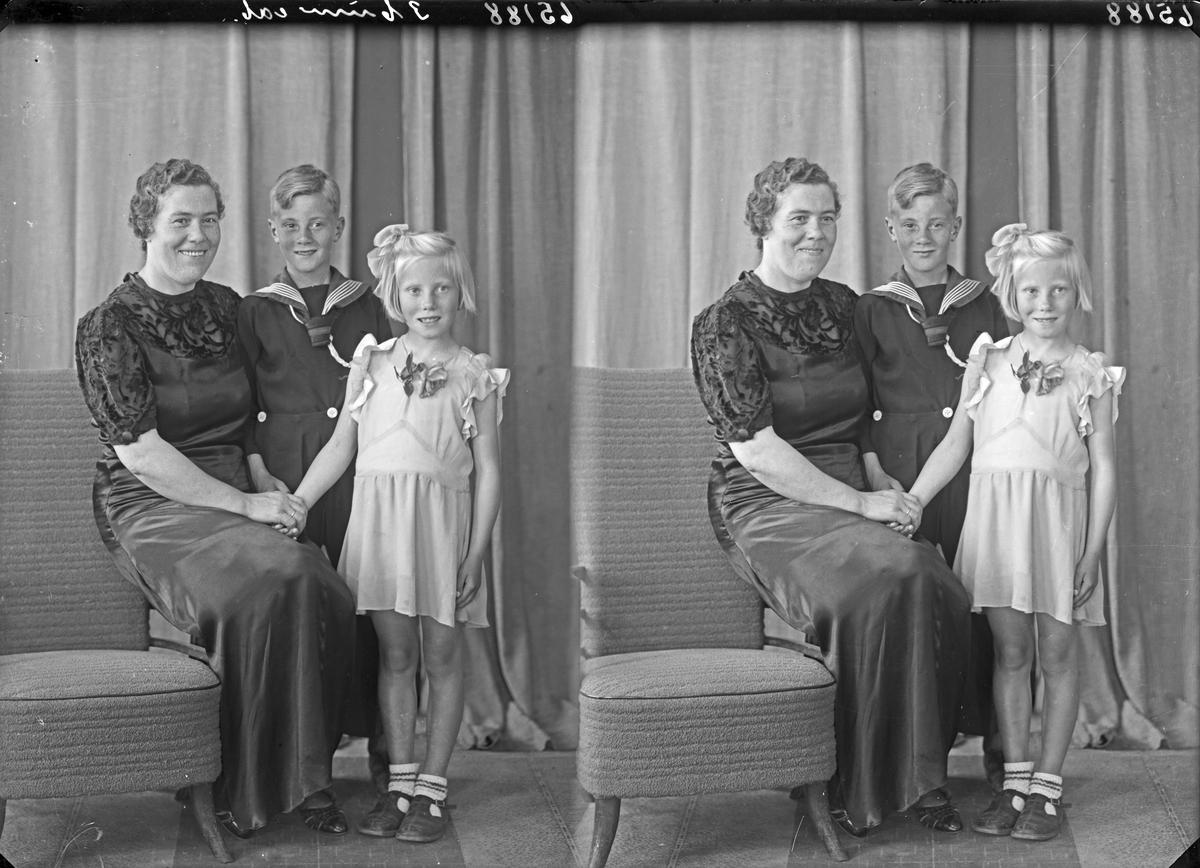 Gruppebilde. Familiegruppe på tre. Bestillt av Marie Økland. Langt. 65.