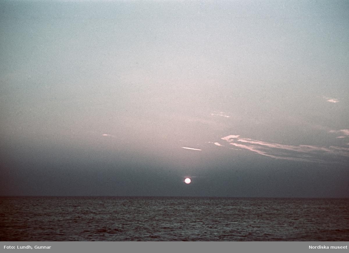 Soluppgång eller solnedgång över havet.