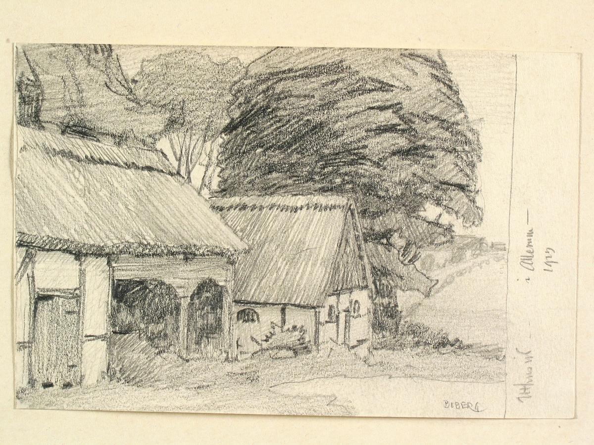 Skåne, Luggude hd. Uthus, Allerum. Teckning av Ferdinand Boberg
