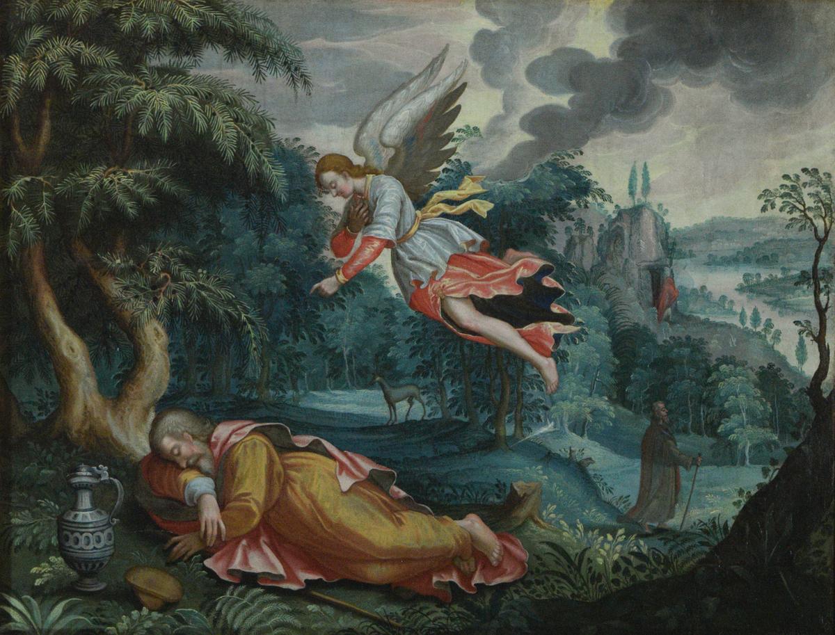 Frodig landskap med elvedal helt til høyre. I forgrunnen under flyvende engel en sovende mannsfigur ved en drikkekanne og et brød(?). I mellomgrunnen til høyre to figurer, den bakerste av dem foran en antatt hule.