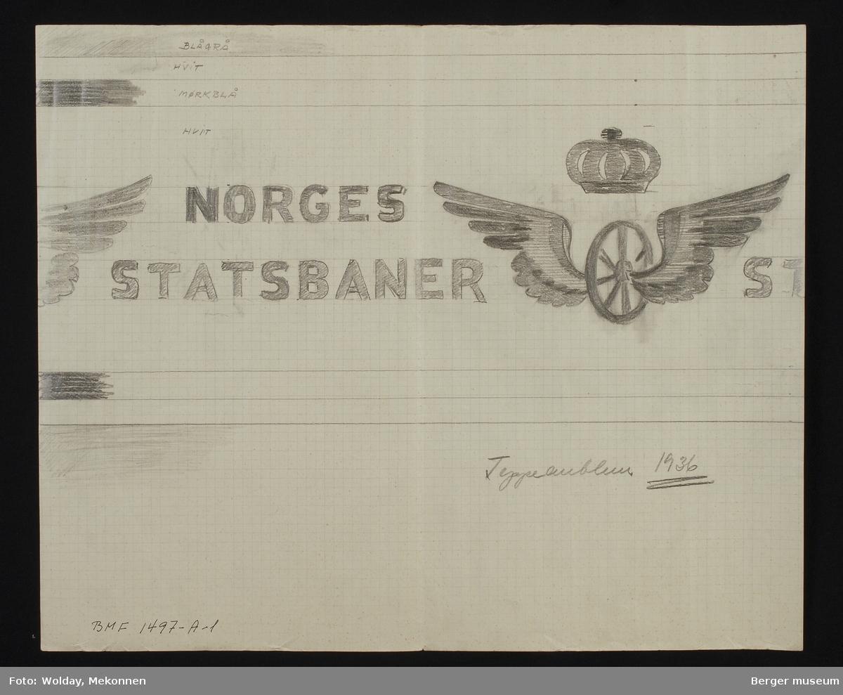NORGES  STATSBANER med emblem vognhjul og krone (uten kors).