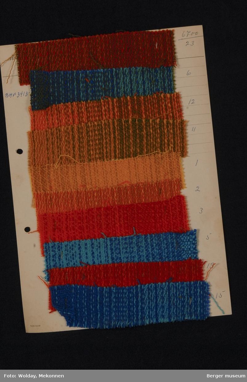 Ark med 10 prøver Acryl gardin Kvalitet 6700 Melert