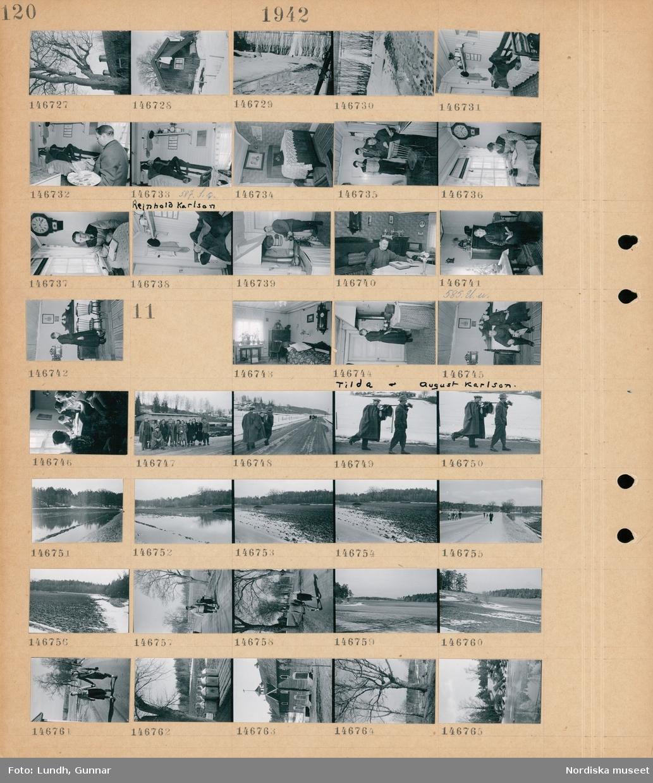Motiv: (ingen anteckning) ; Exteriör av hus, en kvinna vädrar sängkläder från en balkong, smältande snö, interiör med Reinhold Karlson som ligger i en soffa, en man målar av en man som ligger i en soffa, två män tittar på en man som målar, en man sitter vid ett fönster och läser en bok, en man står vid en vedspis, en kvinna sitter med en bok i händerna, en kvinna står i ett rum.  Motiv: (ingen anteckning) ; Interiör av ett rum, en kvinna Tilda Karlson står vid en vedspis, en man August Karlson och en kvinna Tilda Karlson sitter i en soffa, kvinnor sitter vid ett bord och skriver i en bok, grupporträtt av kvinno och män som står på en väg, två män bär packning på sina axlar, landskapsvy med översvämmad åker och skog, människor går på en väg, mjölkkannor står på en mjölkpall, exteriör av en ladugård med en vällingklocka, ett träd, landskapsvy med vatten och skog.