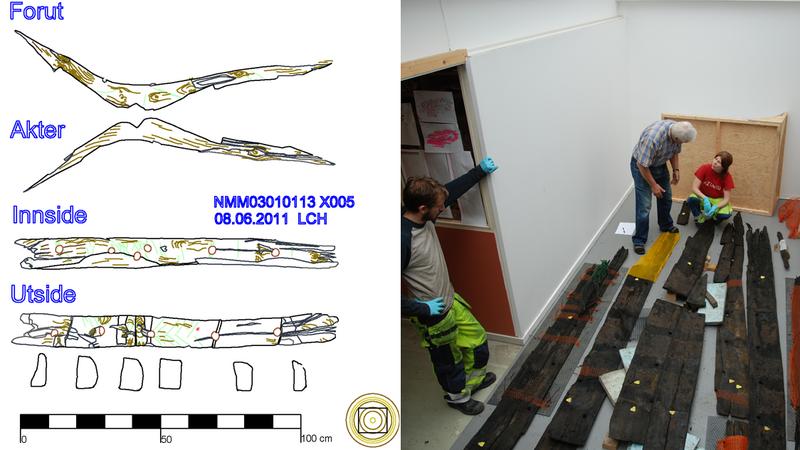 Båtdelene studeres og dokumenteres med digitale tegnemetoder i 1:1 av arkeologer i dokumentasjonslaboratoriet (DokuLab'en) på NMM. (Foto/Photo)