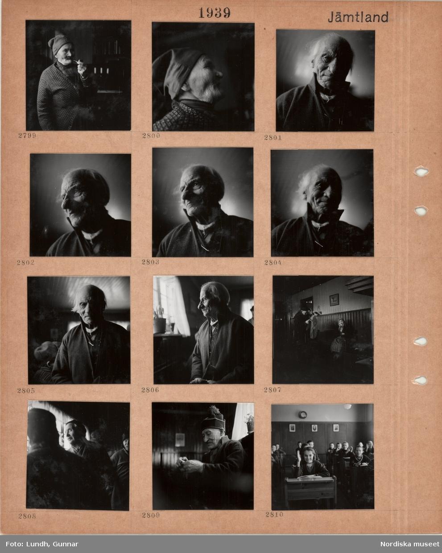 Motiv: Jämtland, ålderdomshem vid Hålland, äldre man i samisk mössa röker pipa, porträttbilder av äldre man i samisk kolt, äldre kvinna i sjalett sitter på en bänk, äldre man i samisk mössa med tofs, sal med skolbarn i bänkar.