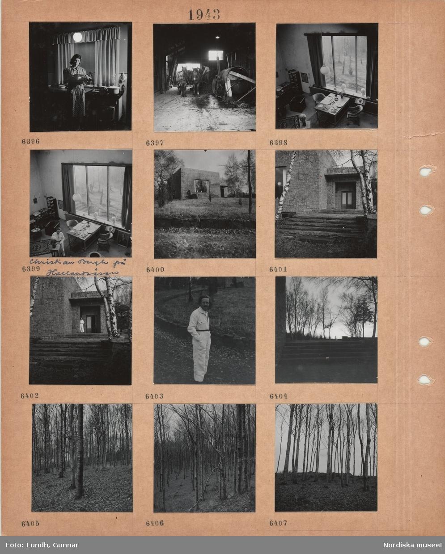 Motiv: Kvinna står i ett kök med en bricka med mat, spis med kokkärl, en man arbetar i ladubyggnad, kärra med två förspända hästar, arbetsrum med bord, fåtöljer, hylla, stort fönster, en man skulpterar ett huvud, Christian Berg på Hallandsåsen, exteriör kubisk ateljébyggnad i naturlandskap, trappa till ytterdörr, björkstammar, en man står vid dörren, man, Christian Berg, i ljus overall, trappa utomhus, träd, björkskog med löv på marken.