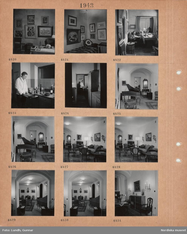 Motiv: Rumsinteriör, skrivbord, vägg med många tavlor, säng med prydnadskuddar, en man, skulptören Christian Berg, sitter och läser en tidning i en fåtölj med ett leopardskinn, orientaliskt rökbord, man, Christian Berg, i skyddsjacka lagar mat, rumsinteriör med spinett, utblick mot andra rum, soffgrupp, skrivbyrå, väggur, tavlor, bokhylla, välvda tak.