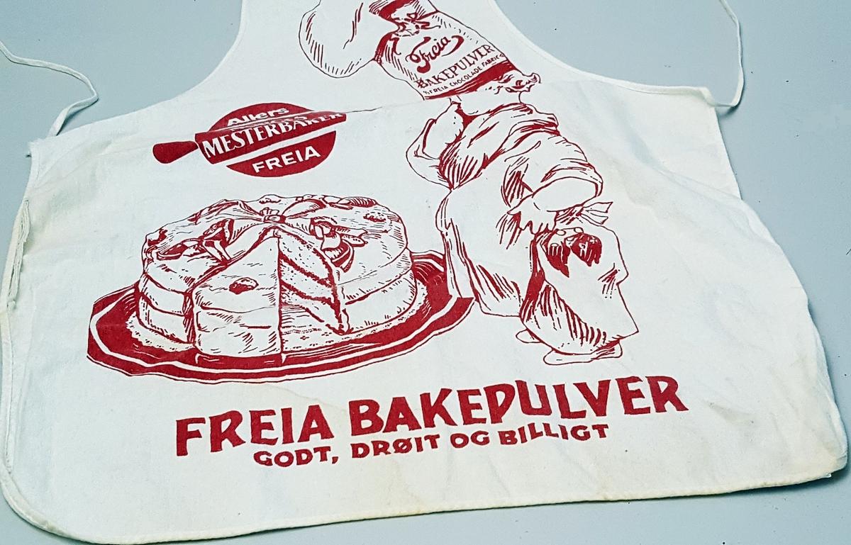 Gamal reklamelogo for Freia (bakepulver): barn med kokkehue som ser på ei diger kake
