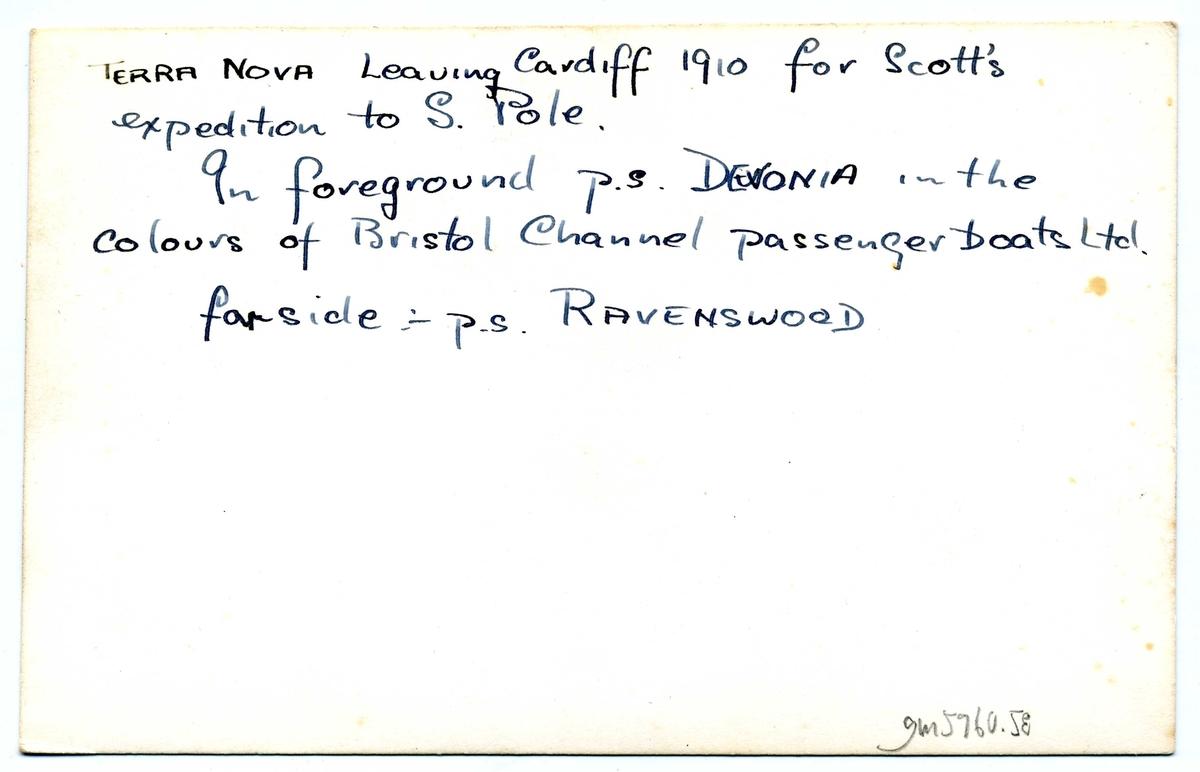 """Vykort med R F Scotts expeditionsfartyg Terra Nova som lämnar Cardiff för vidare färd mot Antarktis via Nya Zeeland: """"Terra Nova leaving Cardiff 1910 for Scott's expedition to S. Pole. In foreground p.s Devonia in the colours of Bristol Channel passengerboats Ltd. Farside p.s Ravenswood""""."""