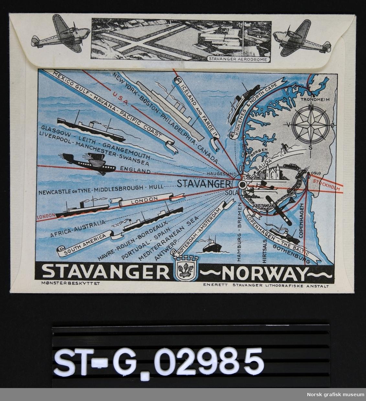 kart over skipstrafikk Konvolutt   Norsk grafisk museum / DigitaltMuseum kart over skipstrafikk