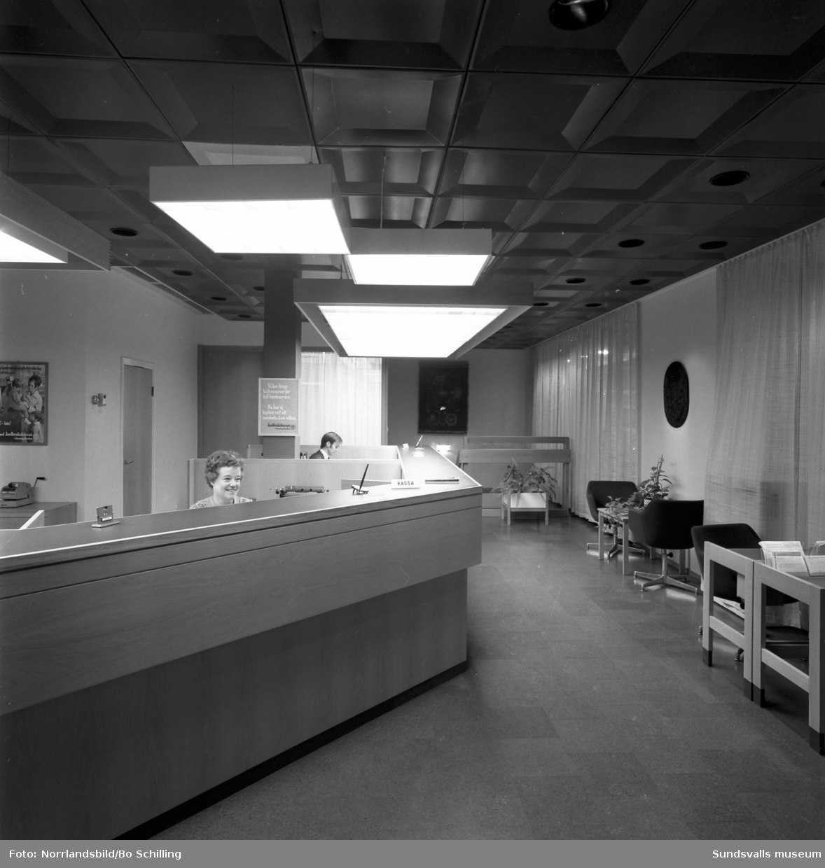 Jordbrukskassans nya lokaler vid Storgatan 23, interiörbilder.