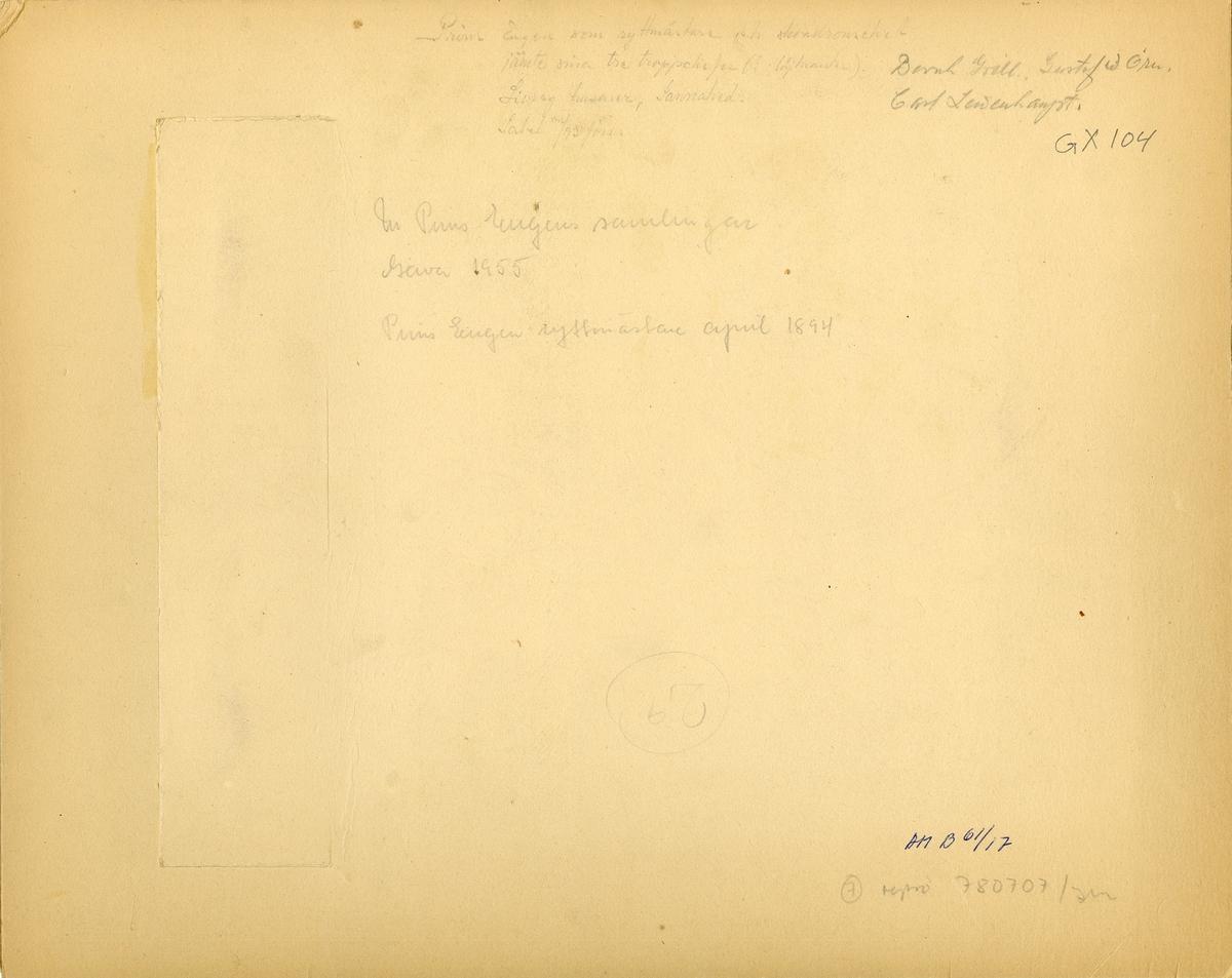 Grupporträtt av prins Eugen som ryttmästare vid Livregementets husarer K 3 med tre troppchefer, Sannahed 1894.