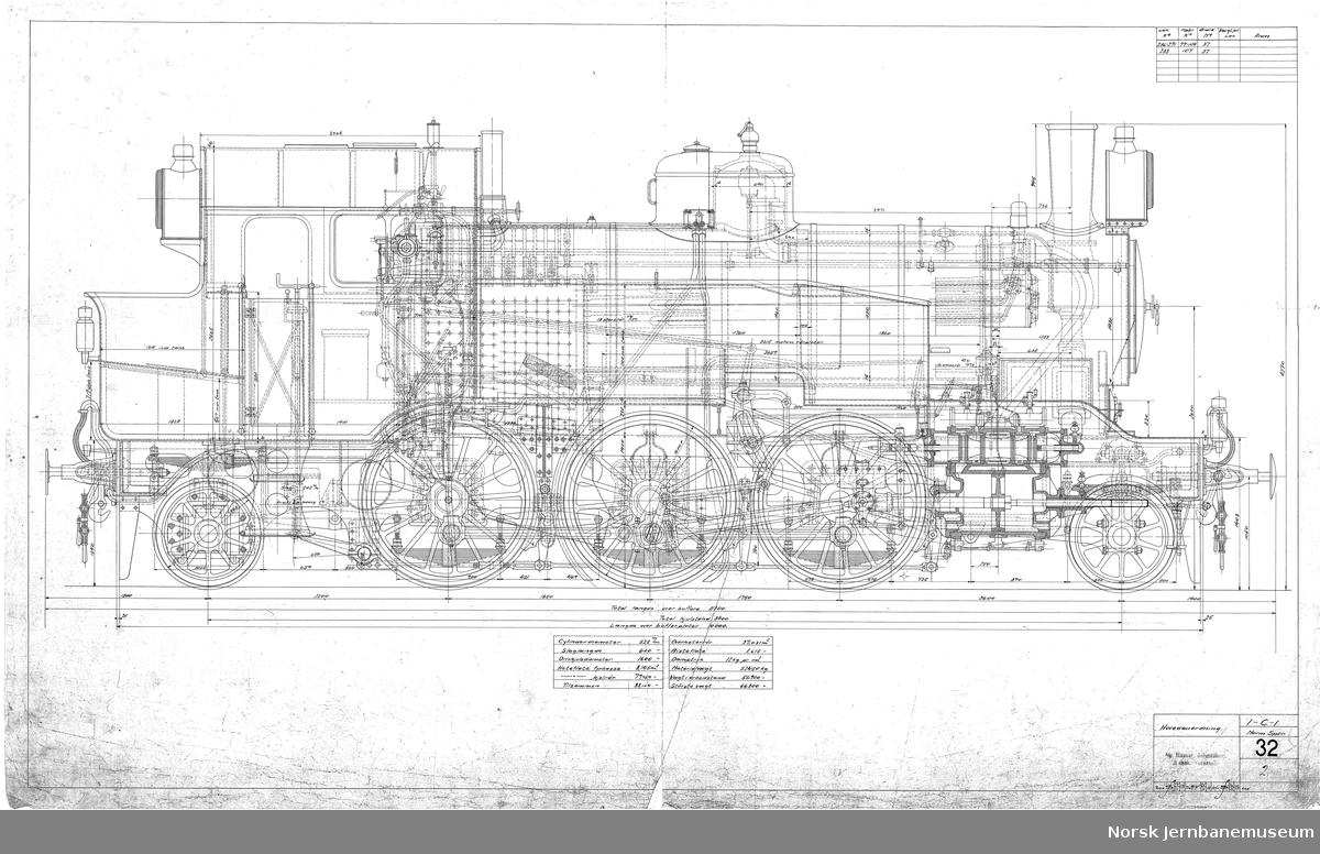 Norges Statsbaner. 1-C-1 Normalspor. Damplok type 32a. Tegning 32/2, 32/3 og 32/4 Hovedanordning.