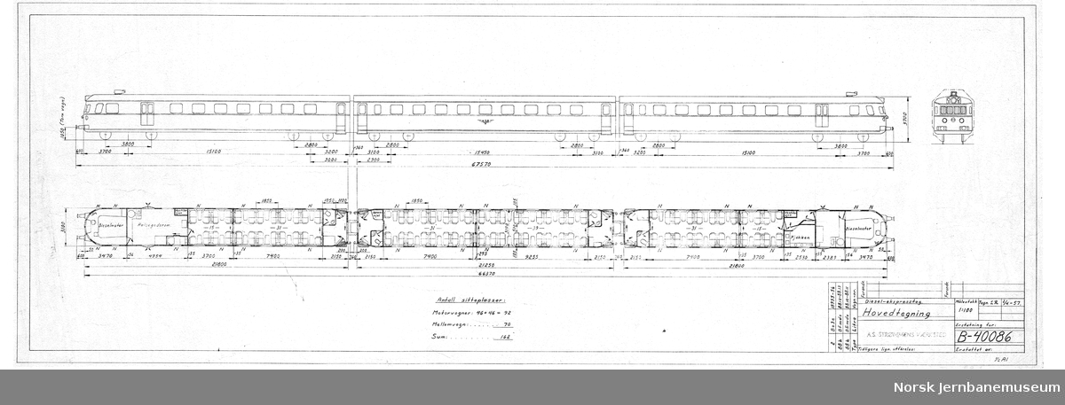 Diesel-ekspresstog. Hovedtegning, type 88b