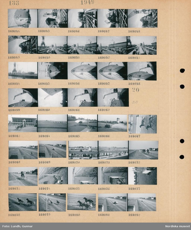 Motiv: (ingen anteckning) ; Ett fartyg under byggnation på ett fartygsvarv, vy över ett varv, en sjösättning.  Motiv: (ingen anteckning) ; En travbana med kuskar i sulky med tävlande hästari ett travlopp inför åskådare, en lastbil vattnar en travbana, publik på en travbana, vy över en travbana, en lastbil skrapar en travbana.