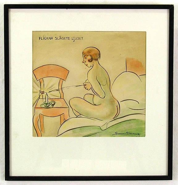 """Enl. Liggaren: """"Akvarell Flickan som släckte ljuset St. 36 x 39 cm""""  Märkt: """"Flickan släckte ljuset."""" Gunnar Söderberg.  C.Å.79/594:8"""