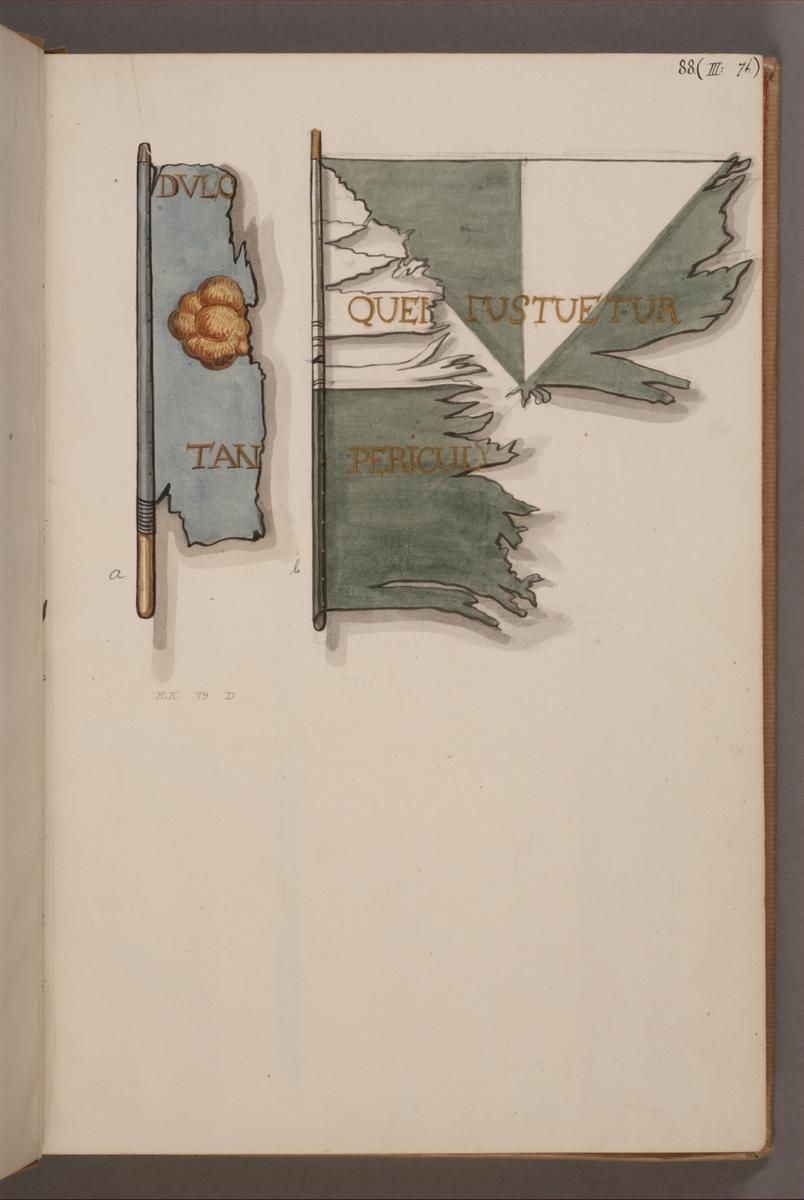 Avbildning i gouache föreställande fälttecken tagna som troféer av svenska armén. Fanan längst till vänster i bild finns bevarad i Armémuseums samling, för mer information, se relaterade objekt.