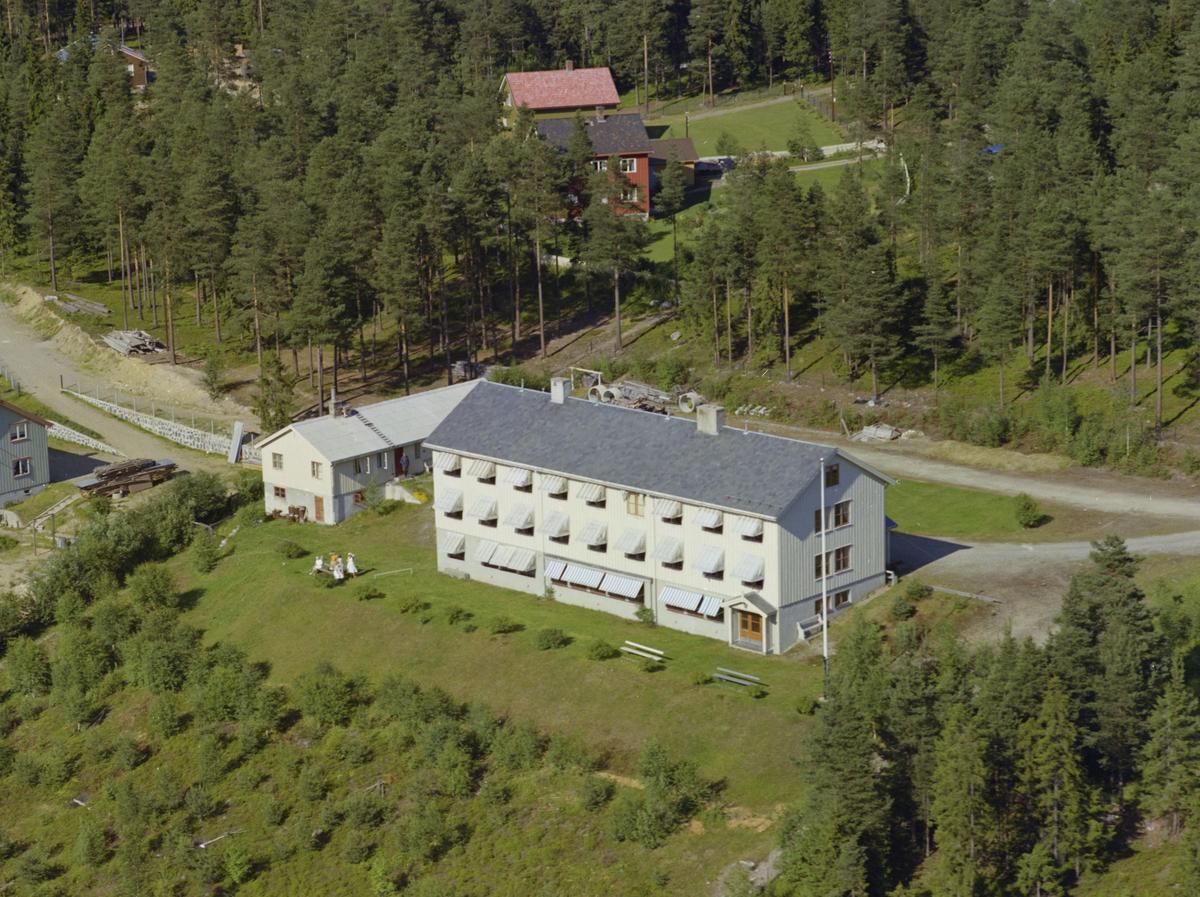 Øyer, Tretten, Tretten Pleiehjem. Toetasjes hvit bygning med to mindre bygninger på høyre side. Beplantet med hvit flaggstang, skog. To hus i bakgrunnen.
