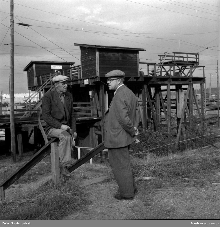 Två män vid Skönviks sågverk. (Förman? Disponent? Direktör?)