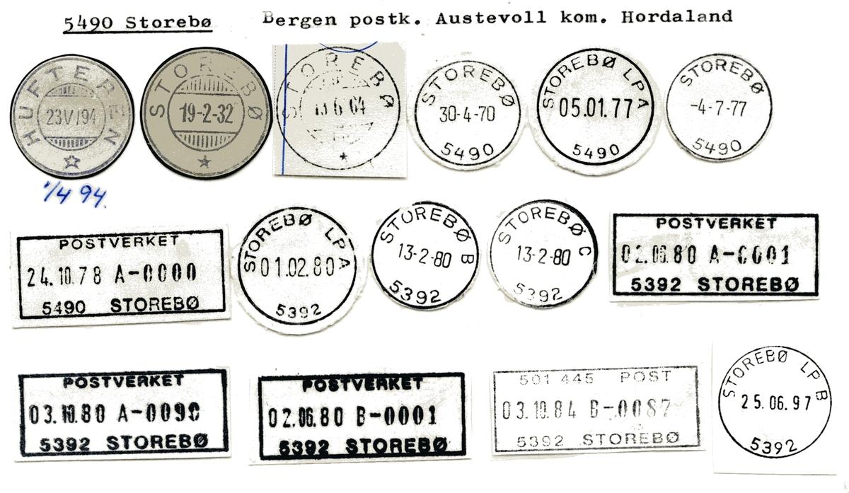 Stempelkatalog 5490 Storebø, Austevoll kommune, Hordaland (Hufteren 1894)