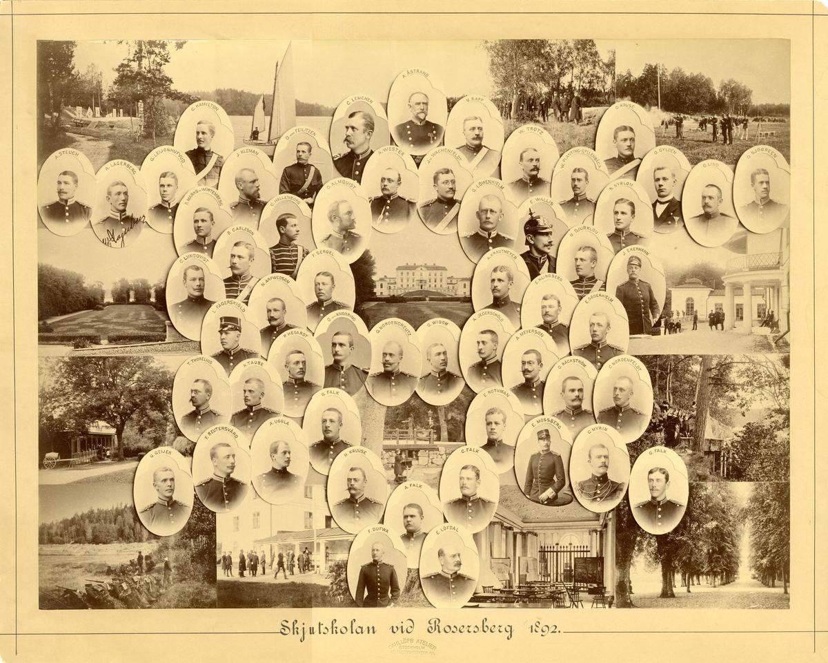 Officerare vid Infanteriskjutskolan, Rosersberg 1892.