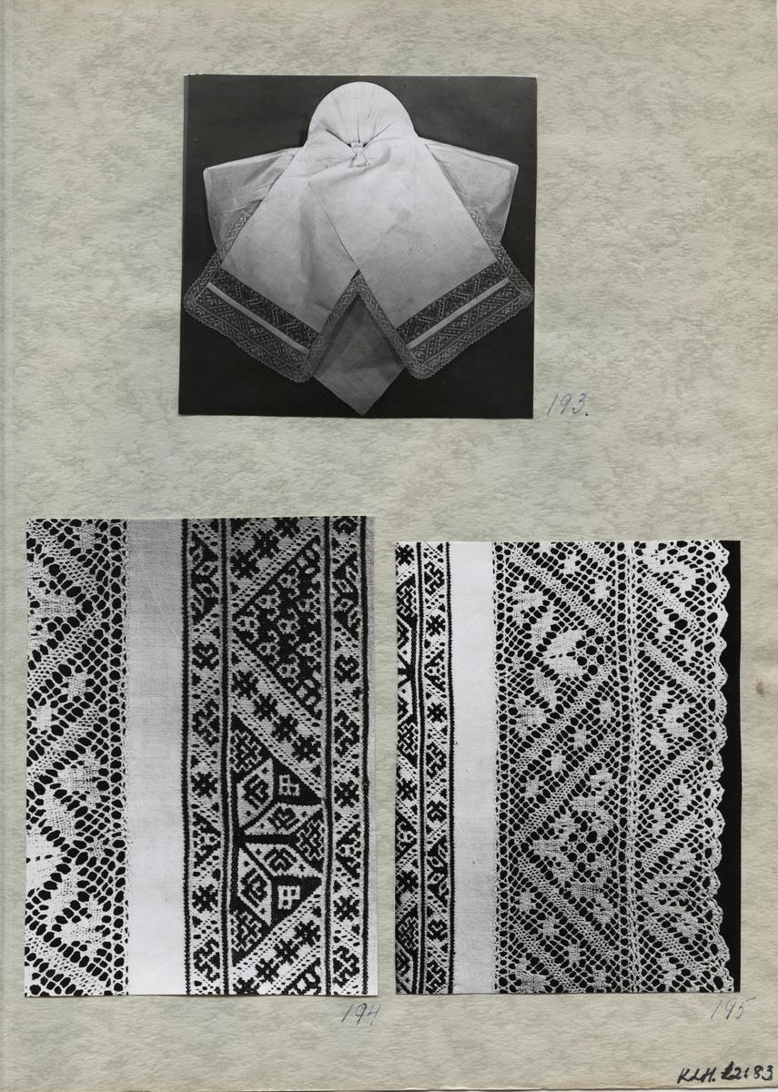 Kartongark med tre fotografier av klut