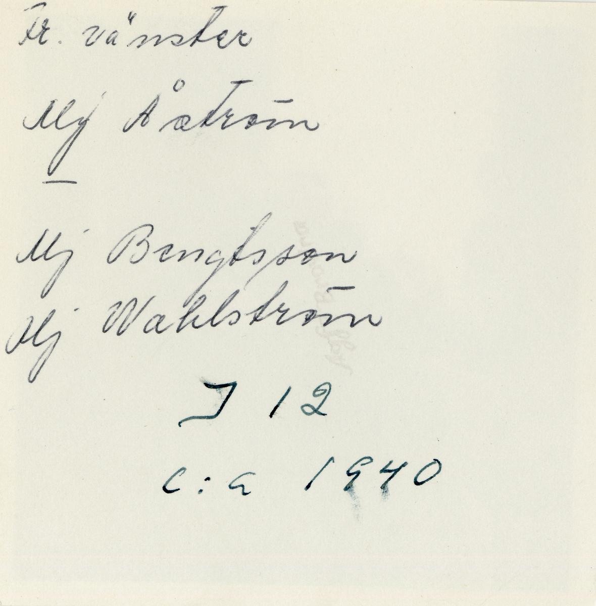 Grupporträtt av major Åström, major Bengtsson och major Wahlström, cirka 1940.