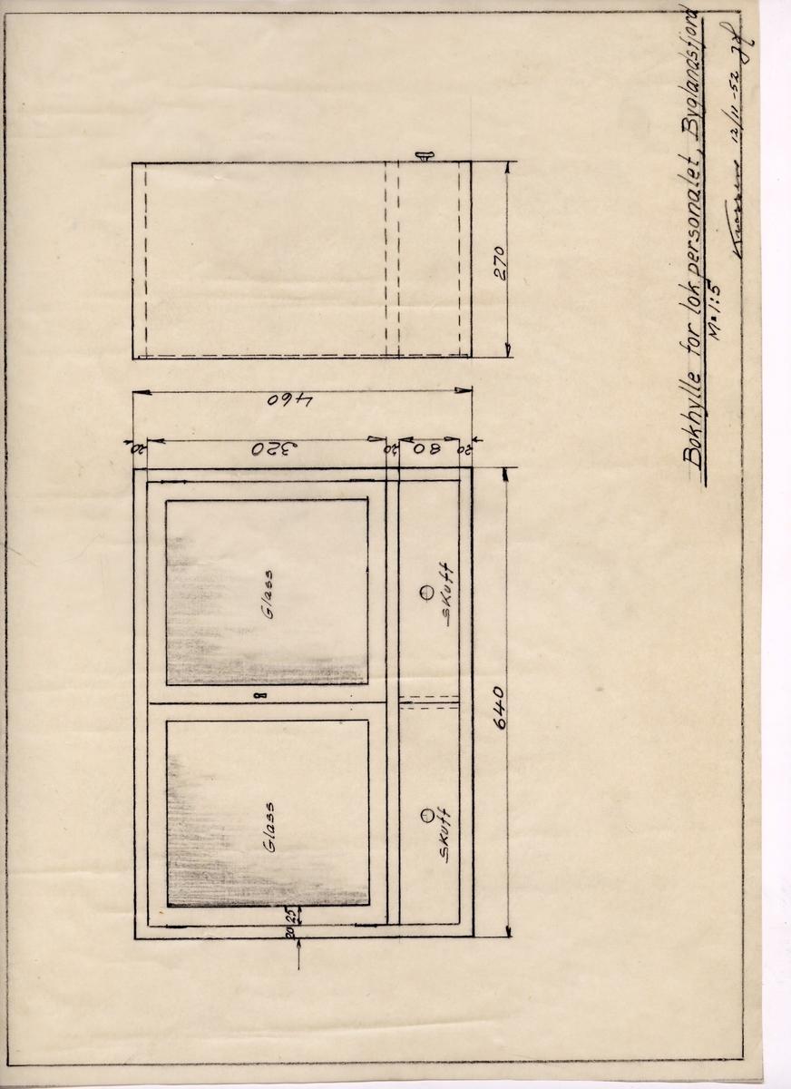 Arbeidstegning på kalkerpapir for bokhylle til Byglandsfjord stasjon, for bøker beregnet på lok.personalet. Tegningen er fra 1952.