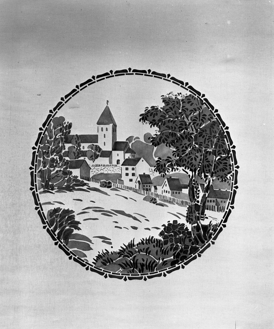 Hvit rullgardin med et sirkulært motiv av en landsby.