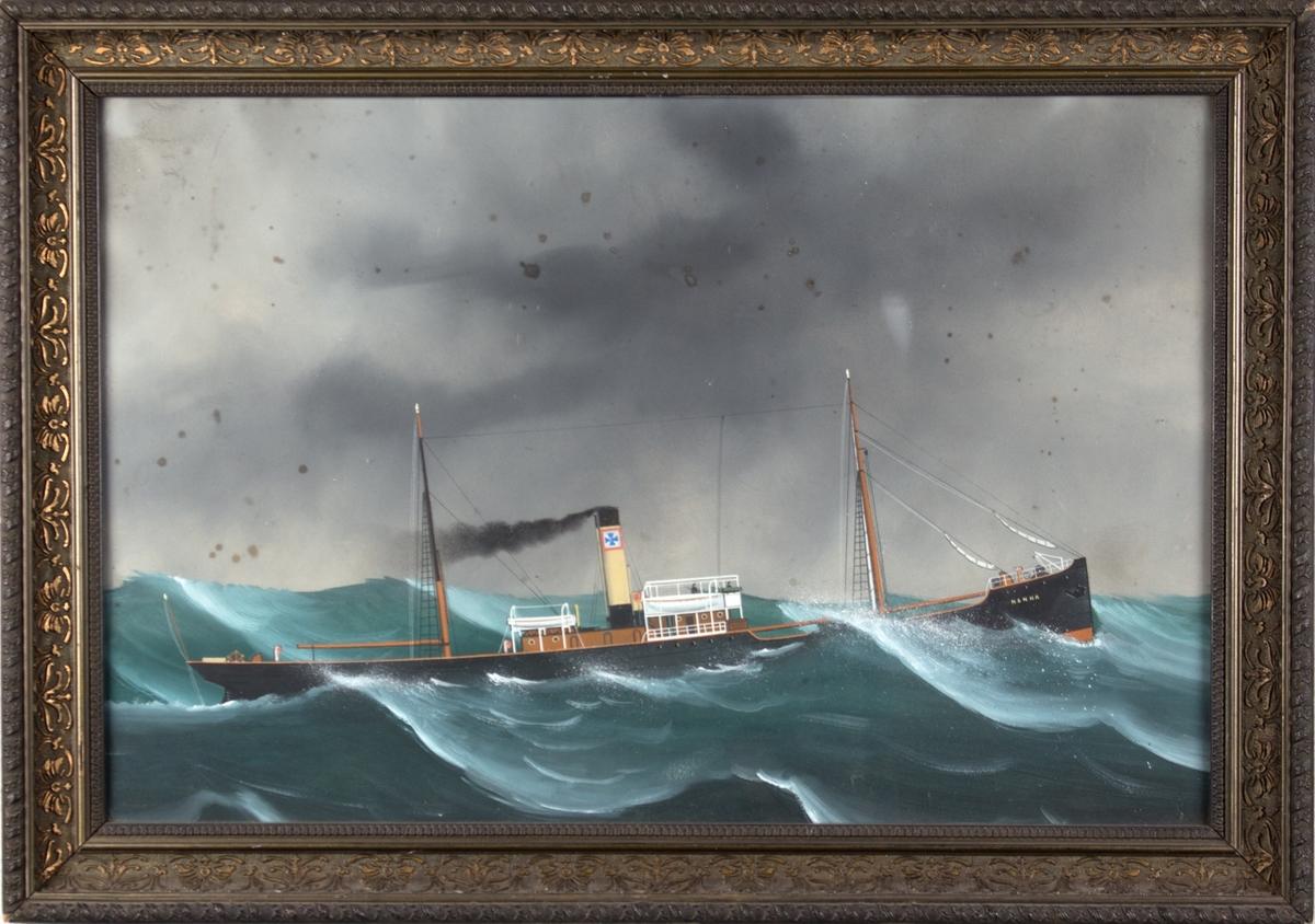Skipsportrett av DS NANNA i opprørt sjø. Skorsteinsmerket til rederiet Gjertsen/Albert Schjelderup.