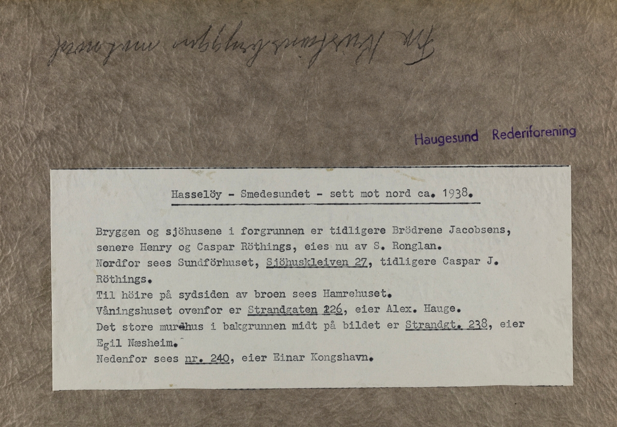 IX Hasseløen - Hasseløy - Smedesundet - sett mot nord ca.1938